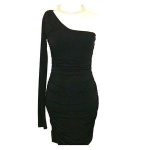 Scrunched one shoulder dress